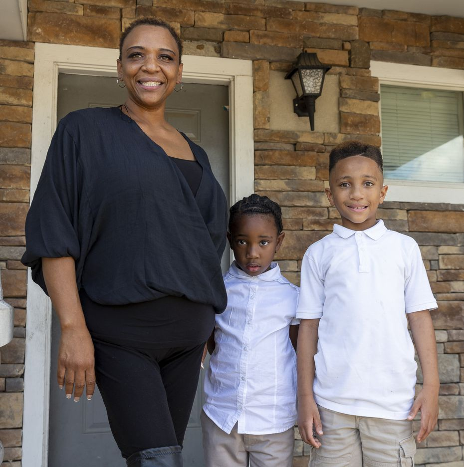 Lashunta Wafford, with children Sakaya Mimiko, 5, and Jayce Mimiko, 8, says Jayce struggled learning virtually from their Dallas home as a student at Paul L. Dunbar Learning Center. She hopes he will be matched with a tutor who helps children with autism.