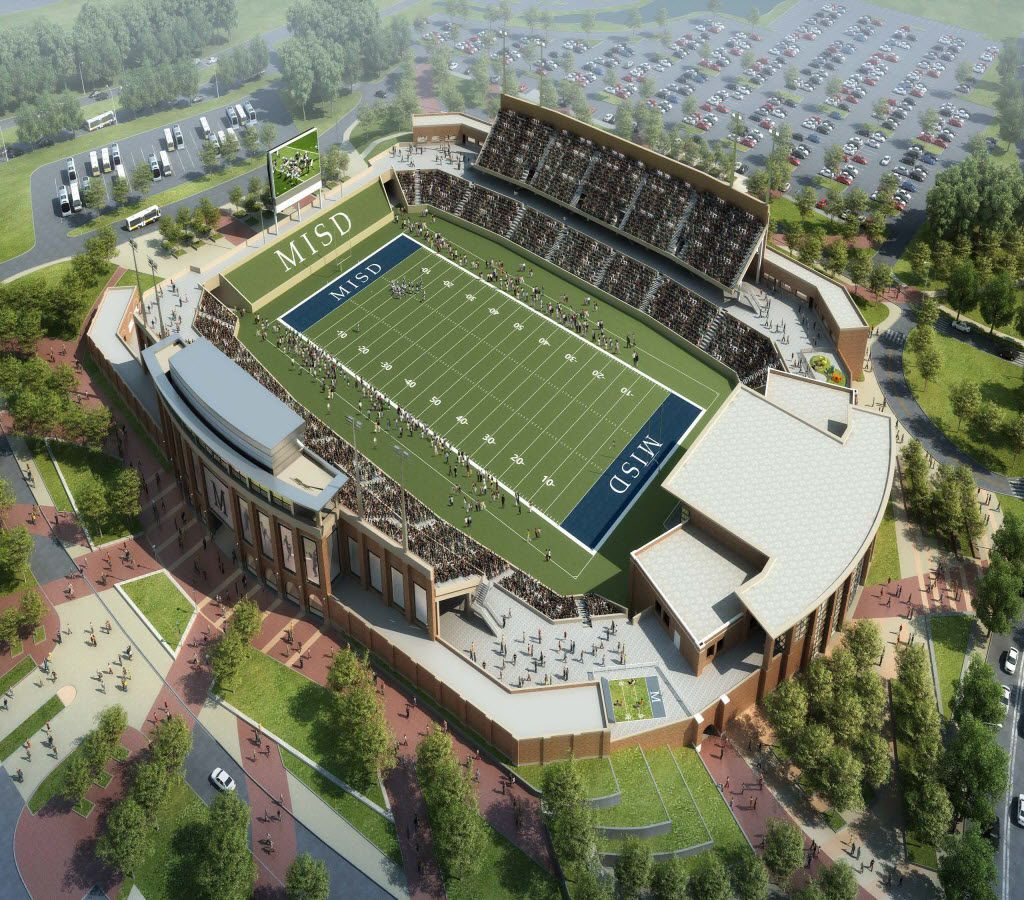 AN ARTIST'S RENDERING depicts what McKinney ISD's new stadium could look like at the southeast corner of Hardin Boulevard and McKinney Ranch Parkway.