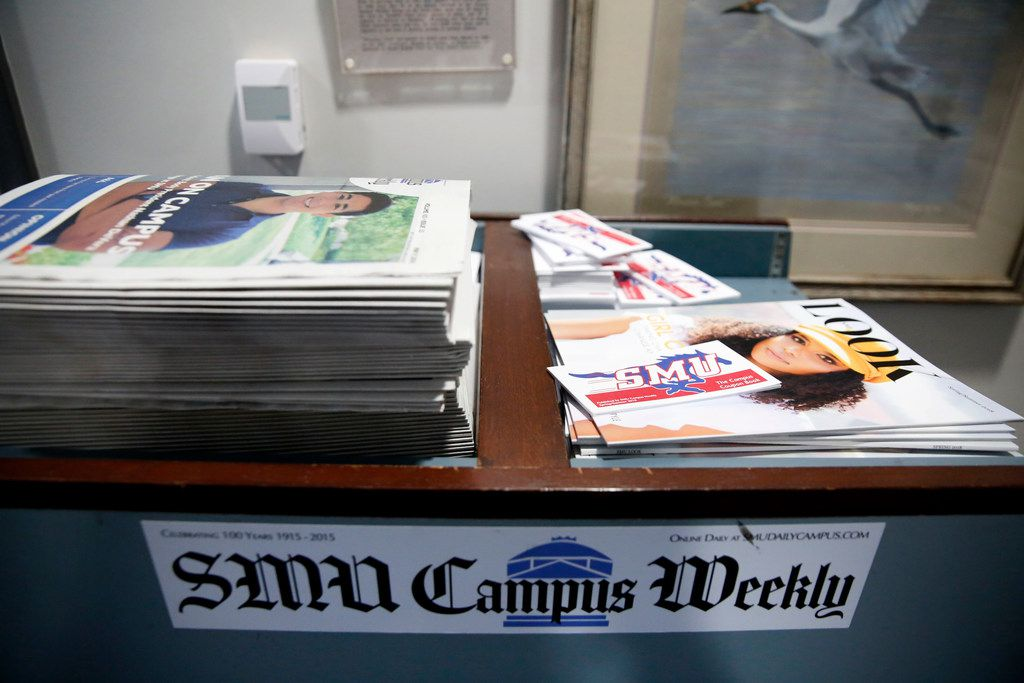 A stack of SMU Campus Weekly newspapers, produced by The Daily Campus, and SMU Look sits outside the Student Media Co. office at SMU in Dallas on Monday, May 14, 2018. SMU's independent student media company was set to be dissolved, forcing its student newspaper The Daily Campus under the control of the school's journalism department.