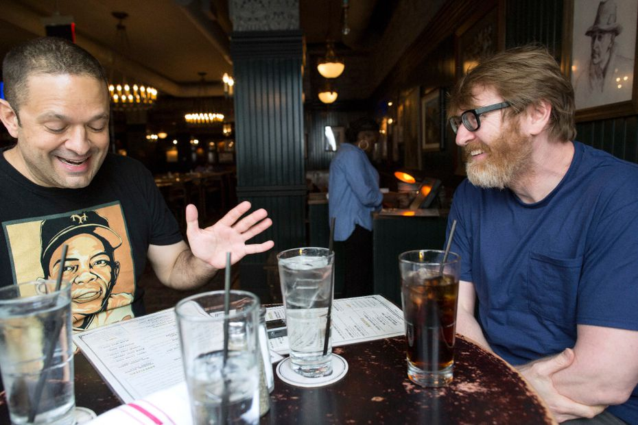 Author Chuck Klosterman (right) talks with Staff Writer  Chris Vognar at Flatiron Hall in New York.