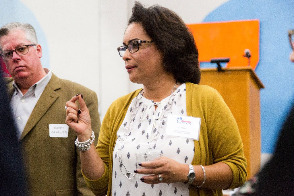 Jelynne LeBlanc-Burley spoke to a group of people in Denton during a city manager candidate reception in November. She was a finalist for the Denton job, but the job was awarded to someone else. (Tomas Gonzalez/Denton Record-Chronicle)
