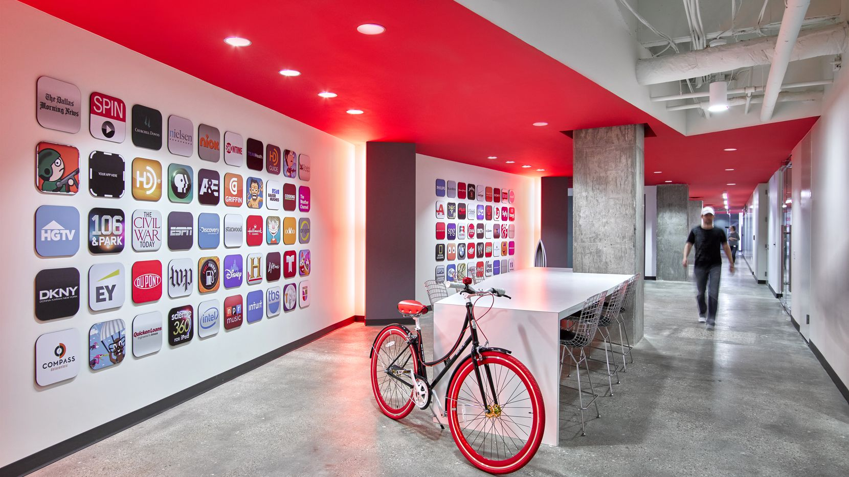 In the main lobby of its Addison headquarters, Bottle Rocket displays the corporate logos of many famous customers. Employees will be allowed to work from anywhere, in part because productivity has been so strong during the lockdown.
