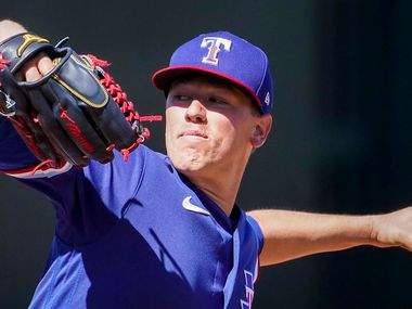 Texas Rangers pitcher Kolby Allard delivers during the second inning of a spring training game against the San Francisco Giants at Surprise Stadium on Monday, March 1, 2021, in Surprise, Ariz.