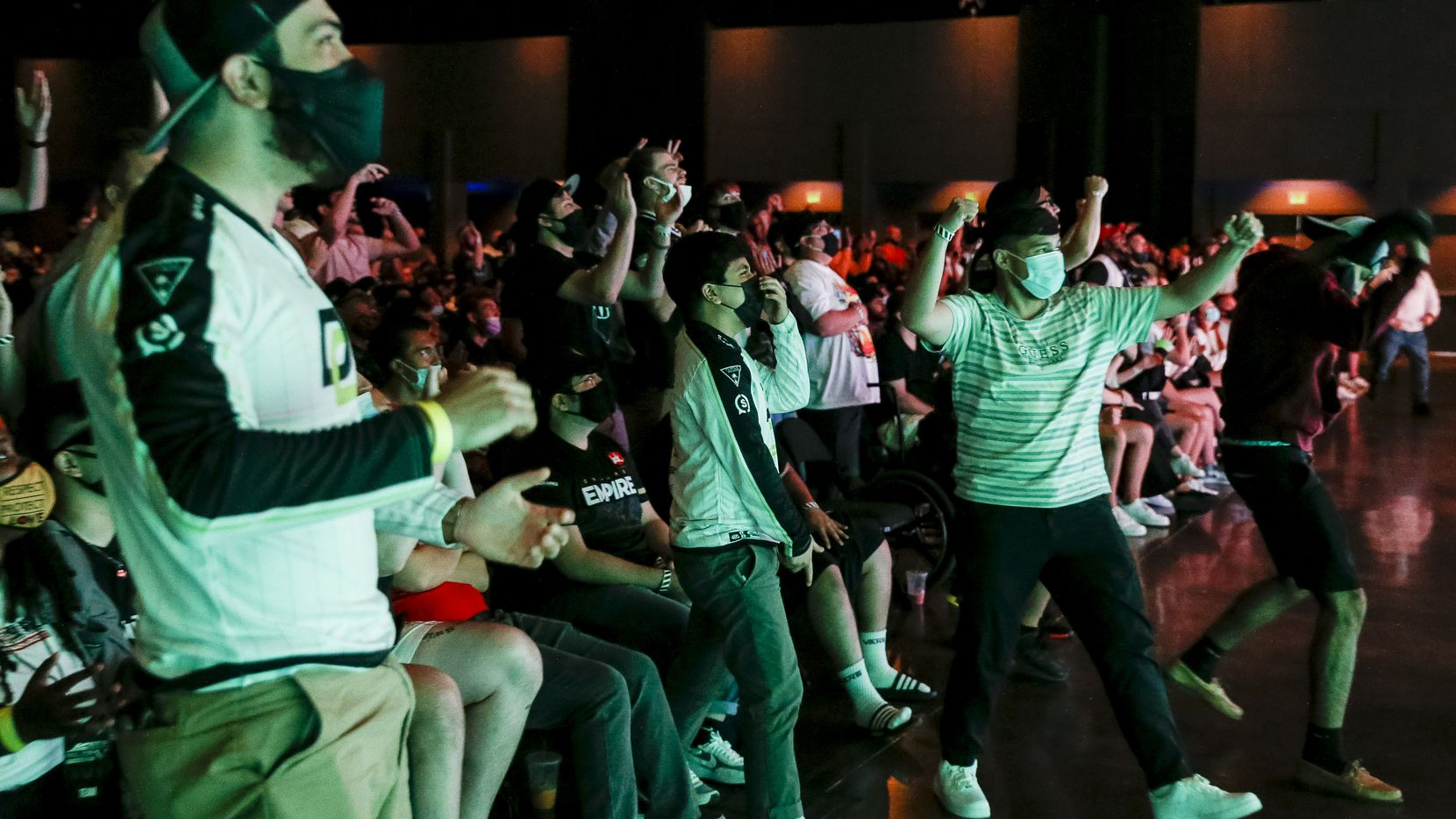 Fans react after Chicago OpTic win a game against Dallas Empire during the Call of Duty League Major V tournament at Esports Stadium Arlington on Sunday, Aug. 1, 2021, in Arlington. Empire finished 4th in the tournament after a 3-1 loss to OpTic. (Elias Valverde II/The Dallas Morning News)