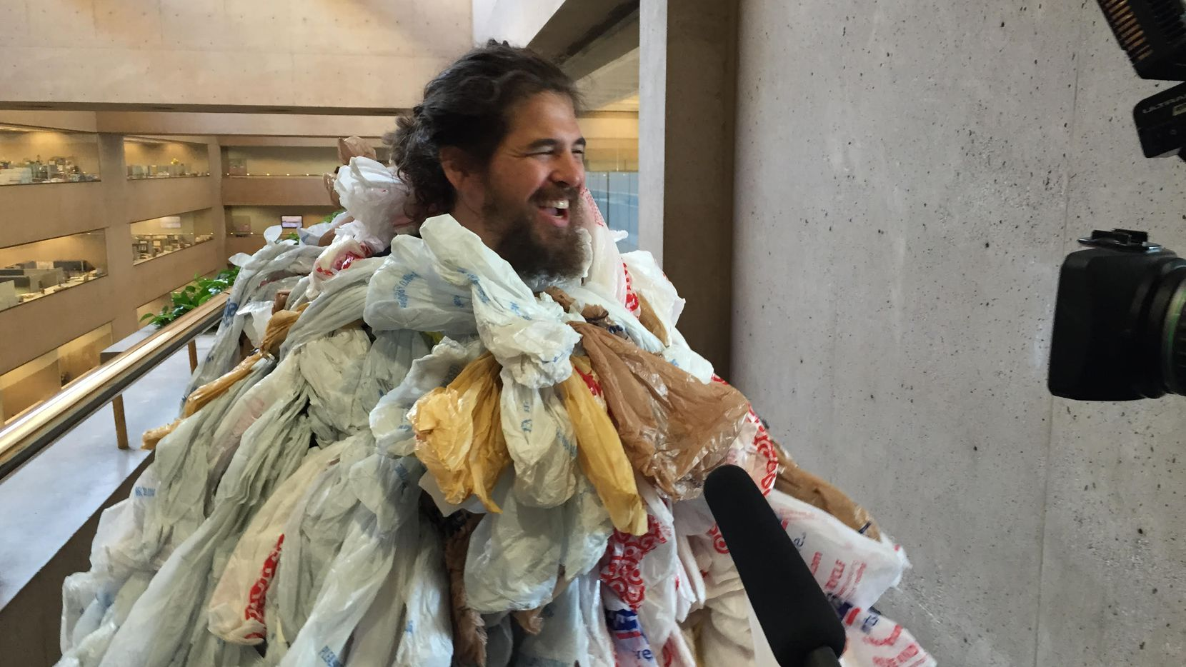 The Plastic Bag Monster could not get the council to vote for a bag ban (Kye R. Lee/Staff photographer)
