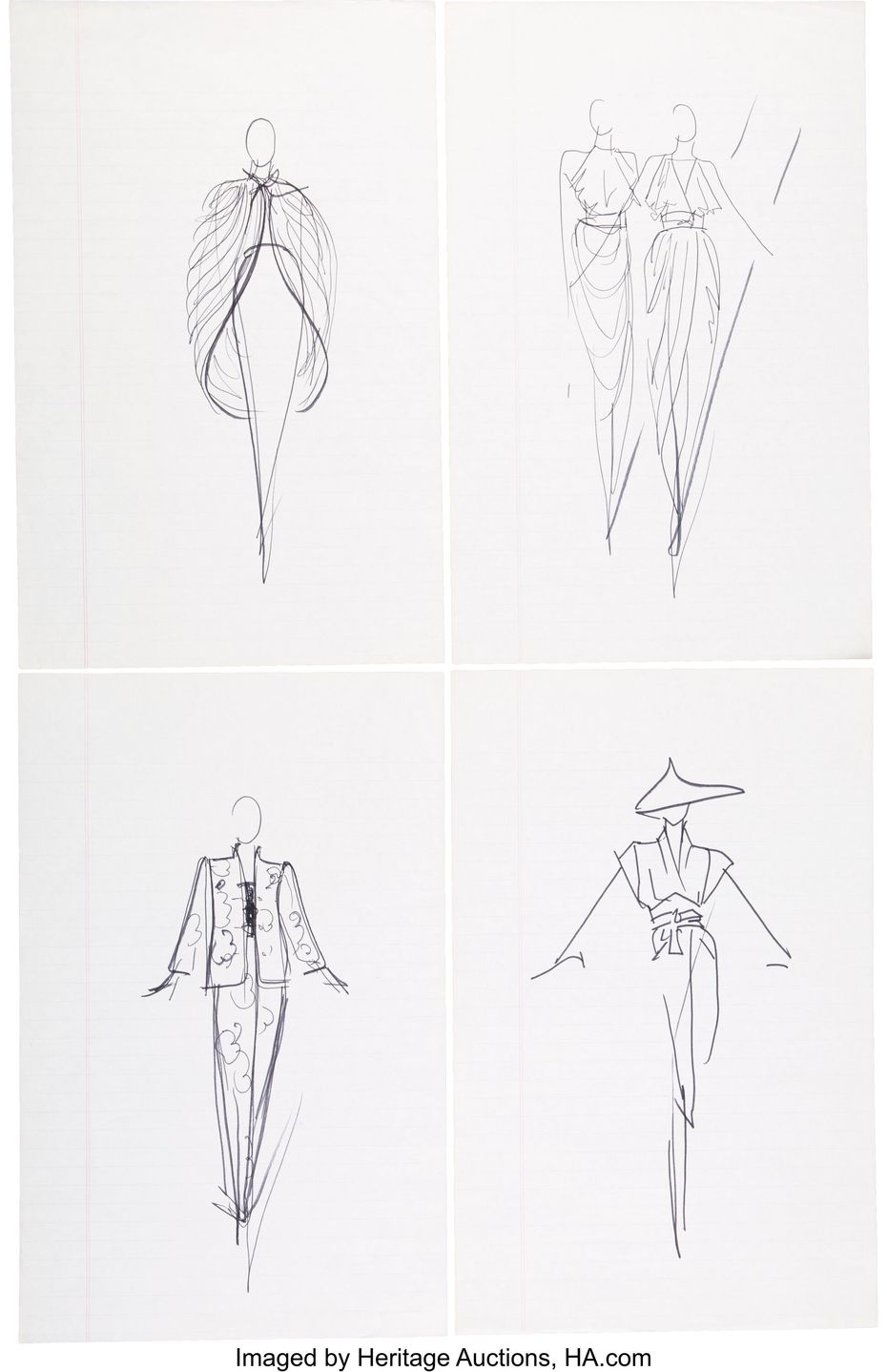 Framed sketches for Neiman Marcus by fashion designer Halston.