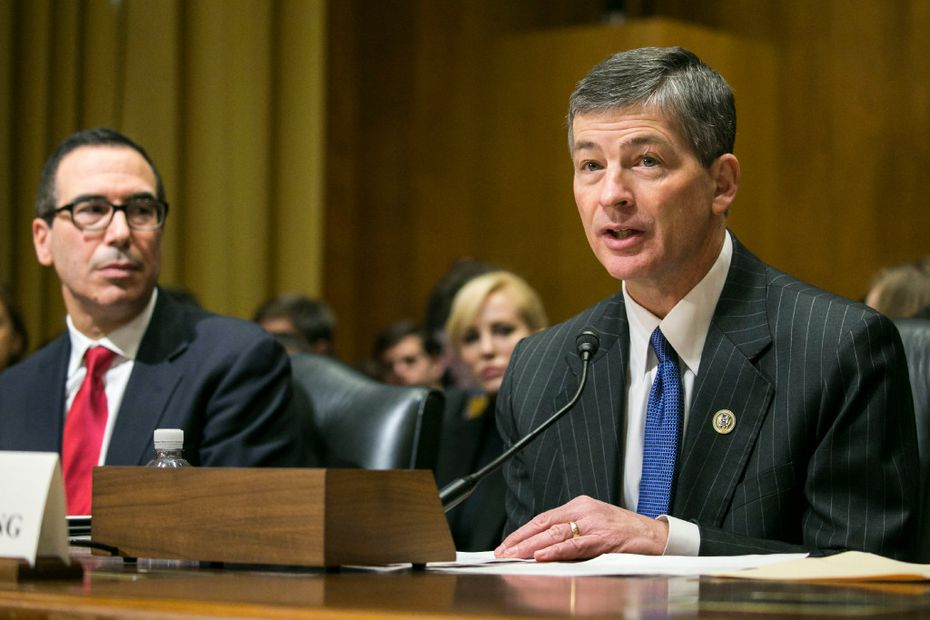 Texas Rep. Jeb Hensarling (right) with Treasury Secretary Steven Mnuchin. (Al Drago/The New York Times)