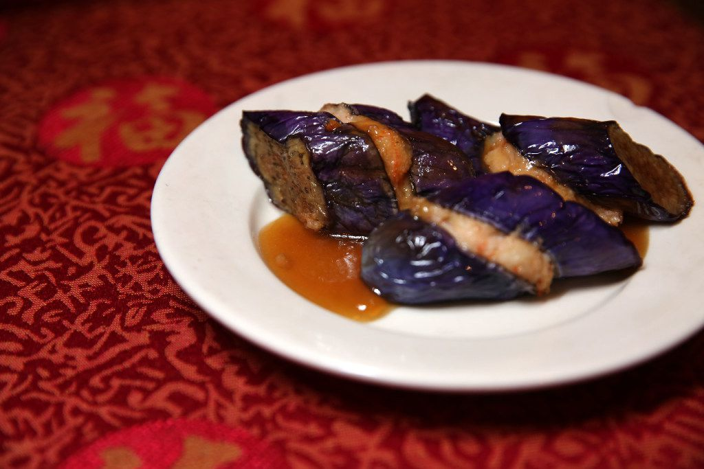 Shrimp-paste-stuffed eggplant at Kirin Court. Good ones are soft and tender yet not too oily, with delicious savory filling.