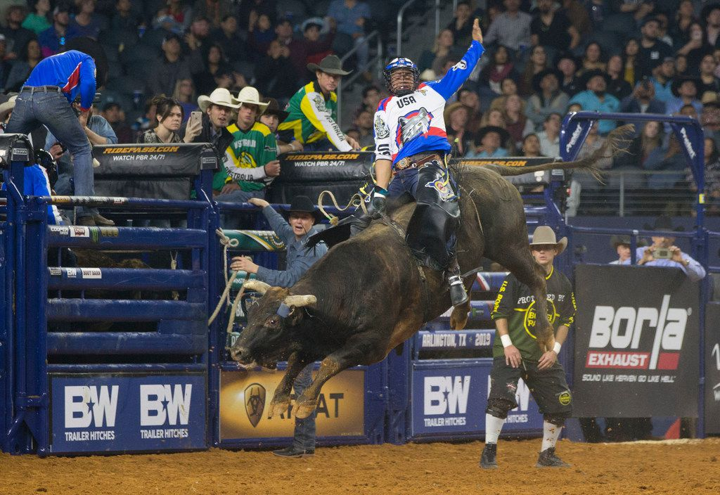 Bull rider Keyshawn Whitehorse of Team U.S.A. Wolves rides Magic Train during the PBR Global Cup at AT&T Stadium in Arlington on Sunday, February 10, 2019. Arlington will host the PBR World Finals for the first time this November.