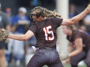 Aledo pitcher Kayleigh Smith (15) delivers a pitch to a Georgetown batter during the bottom of the first inning of play. The two teams played their UIL 5A state softball semifinal game at Leander Glenn High School in Leander on June 4, 2021.
