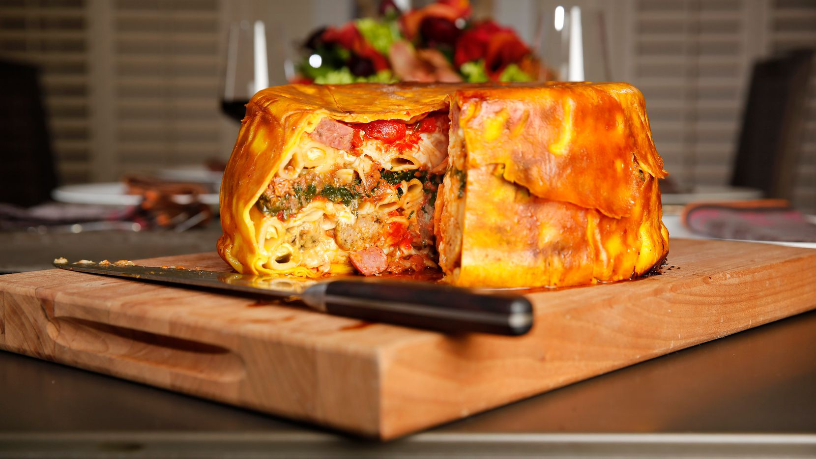 Julian Barsotti's  timpano, a colossal, 21-layer creation that contains the flavors of an entire Italian restaurant, is constructed from a series of components whose recipes are linked below.