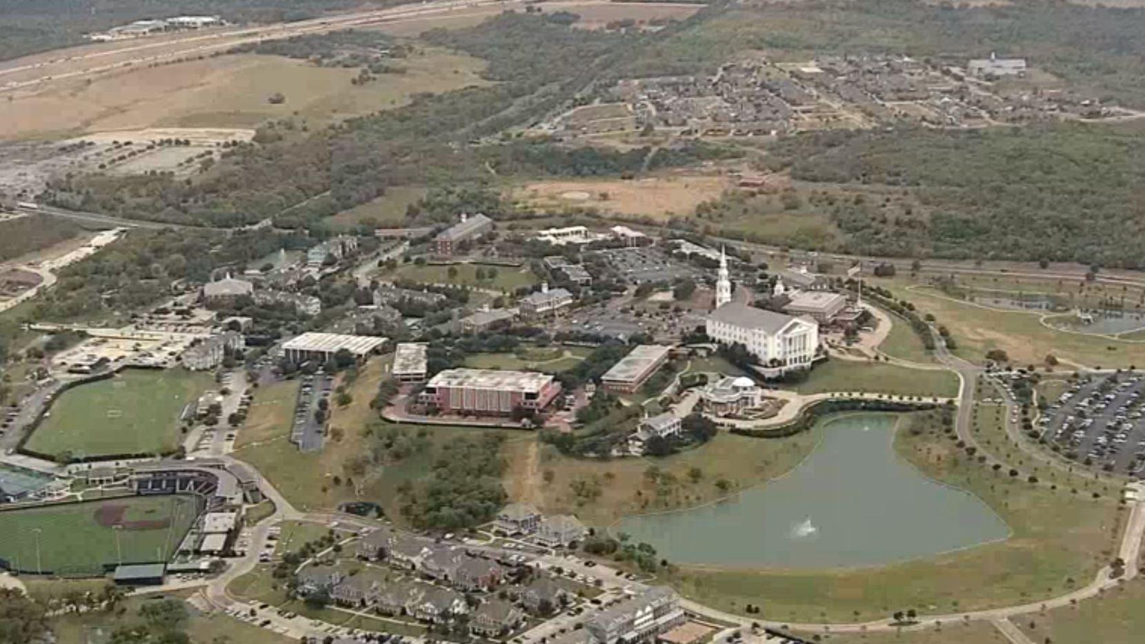 Aerial view of Dallas Baptist University.