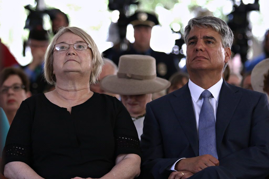 Claire Wilson James, a survivor of the tower shooting, and University of Texas at Austin President Greg Fenves attended the ceremony Monday marking 50 years since the rampage.
