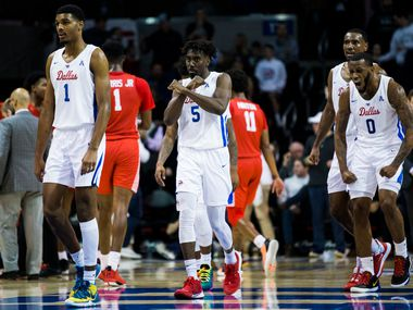 Southern Methodist Mustangs celebrates a point during the second half of a basketball game between SMU and University of Houston on Saturday, February 15, 2020 at Moody Coliseum in Dallas.