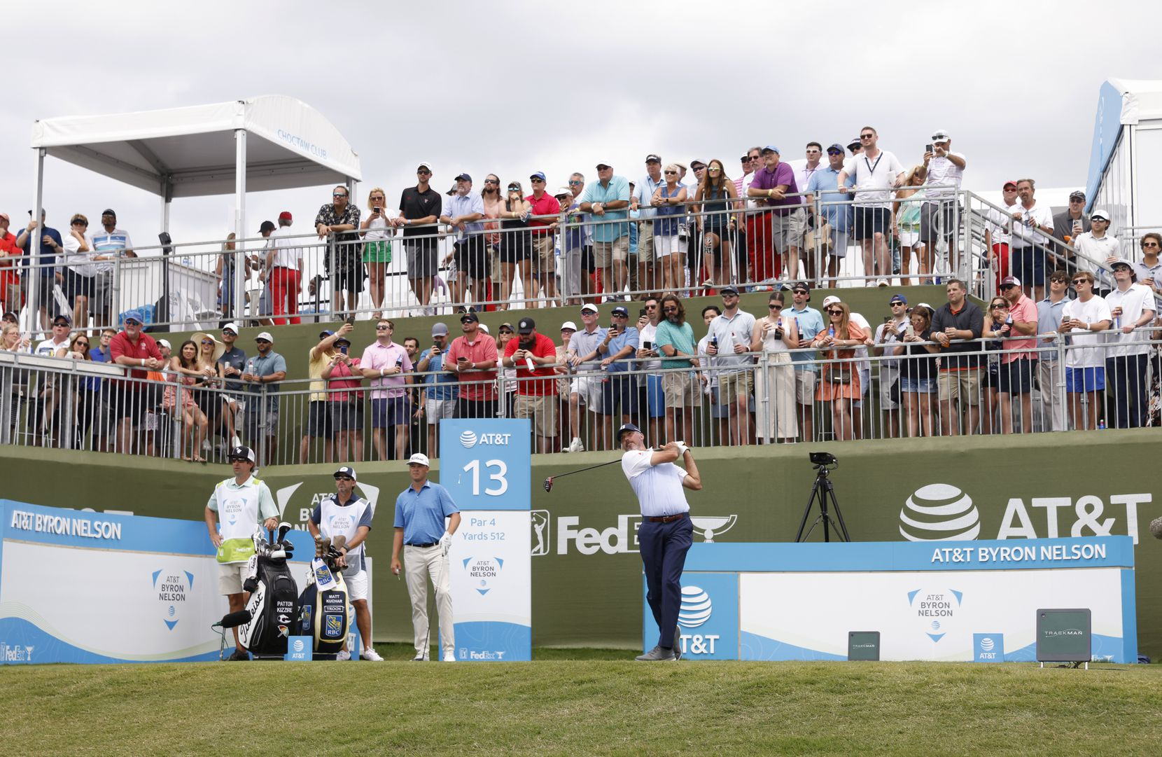 Matt Kuchar tees off on the 13th hole during round 3 of the AT&T Byron Nelson  at TPC Craig Ranch on Saturday, May 15, 2021 in McKinney, Texas. (Vernon Bryant/The Dallas Morning News)