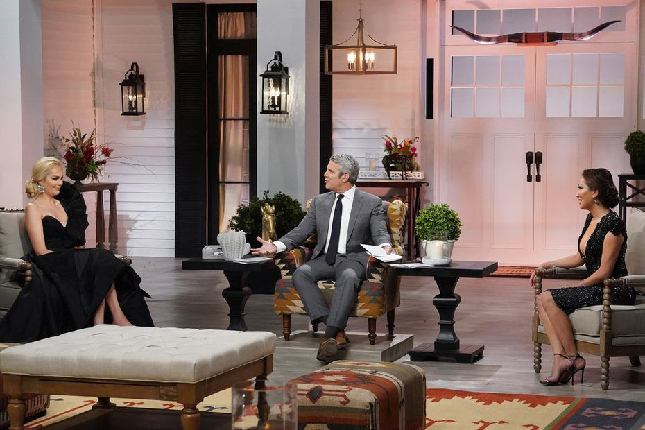 At the 'Real Housewives of Dallas' reunion, Kameron Westcott (left) and Tiffany Moon had the most heated conversations. Bravo's Andy Cohen (center) moderated.