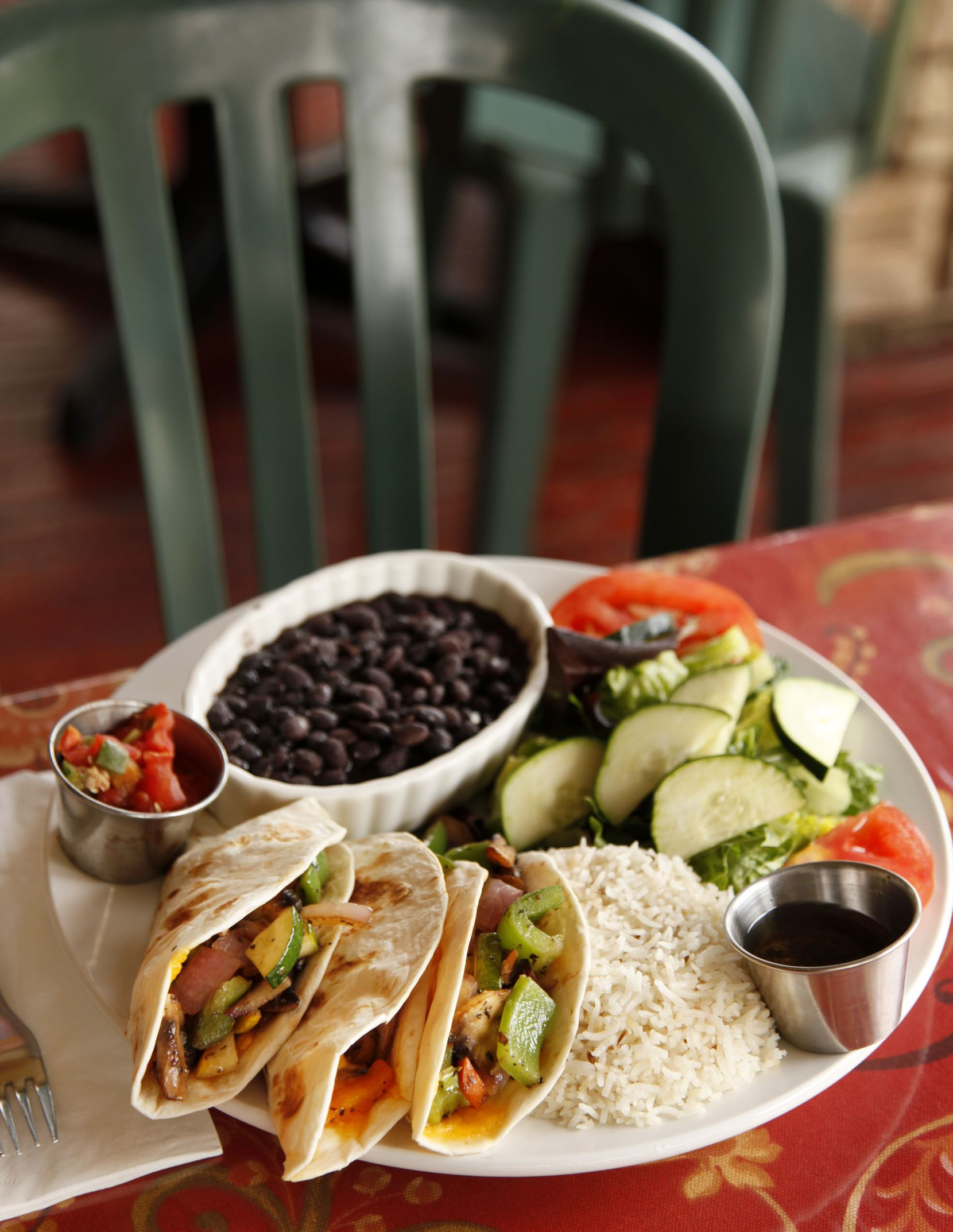 Taco Trinity at Cosmic Cafe, photographed April 26, 2012. Cosmic Cafe, located at 2912 Oak Lawn, specializes in vegetarian cuisine. (Evans Caglage/The Dallas Morning News)