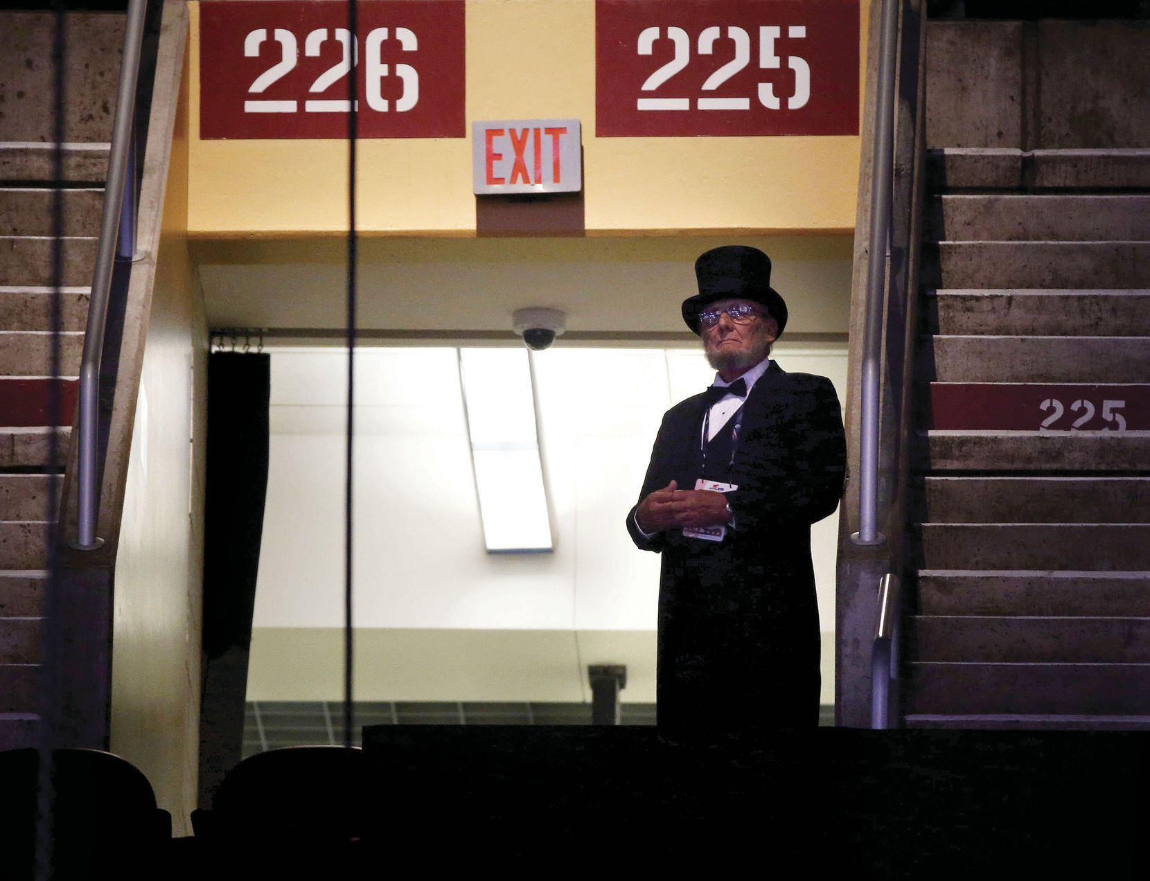 A man dressed as Abraham Lincoln watched from above the stage during the Republican National Convention on July 20.