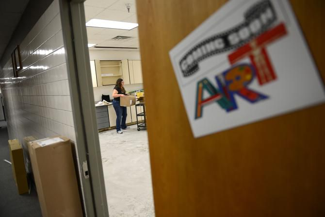 In this 2019 file photo, a teacher unpacks supplies in the art room at Shugart Elementary School. Garland ISD has raised pay for substitute teachers.