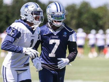 Cedrick Wilson (1) and Trevon Diggs (7) during practice at The Star in Frisco on Wednesday, September 15, 2021. (Lola Gomez/The Dallas Morning News)