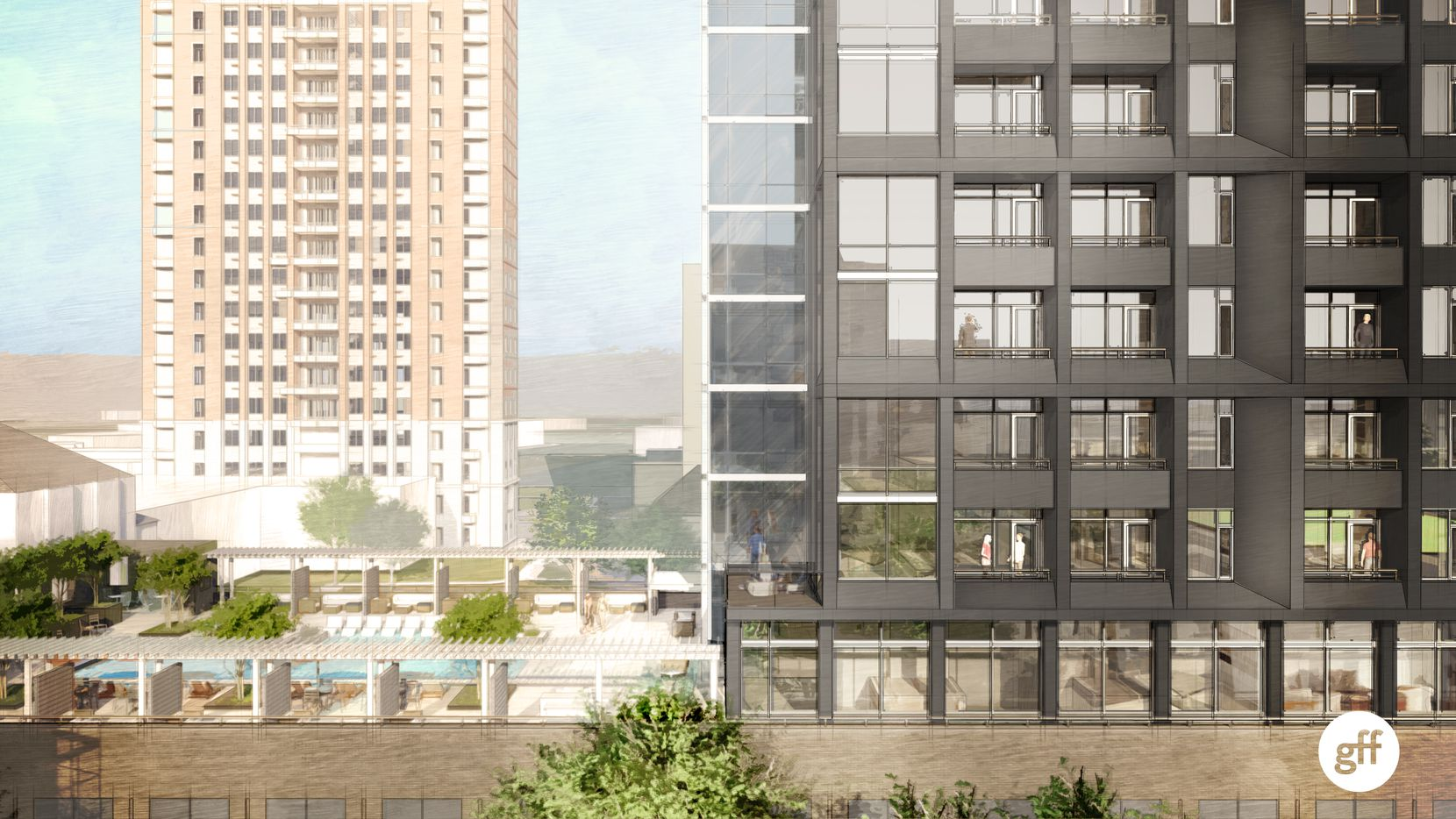 The residential tower will have a third-floor pool deck.