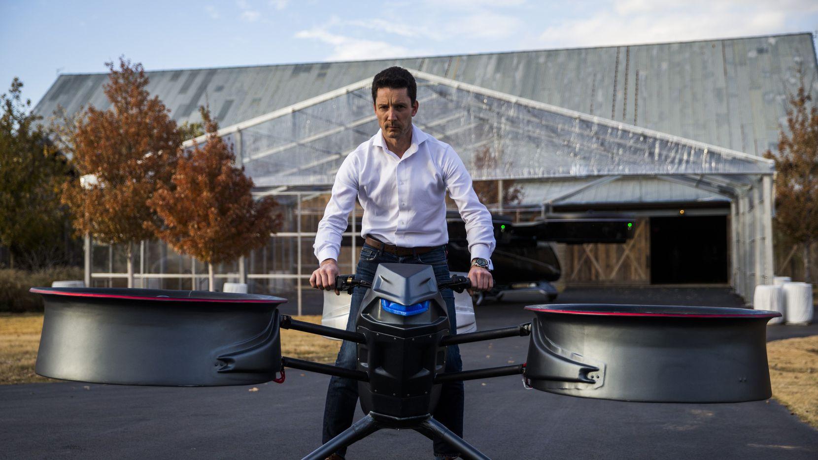 Assen Andonov, CEO and Founder of Assen Aeronautics, demonstrates a prototype of the Assen A2 Avenger sky bike during an invitation-only summit for aviation investors and business executives on Wednesday, November 20, 2019 at Circle T Ranch in Westlake, Texas. (Ashley Landis/The Dallas Morning News)