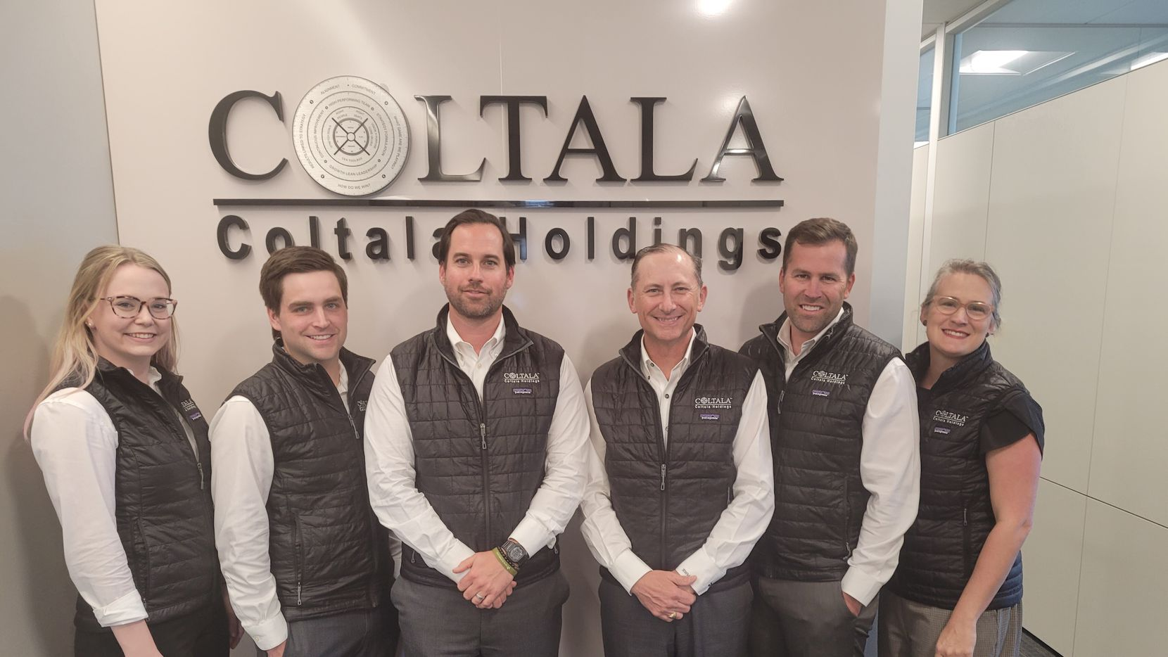 The Coltala Holdings team (from left) includes Sara White, Blaine Kaehr, co-founder and president Edward Crawford, co-founder and CEO Ralph Manning, Nathan Wilson and Melanie Barton.