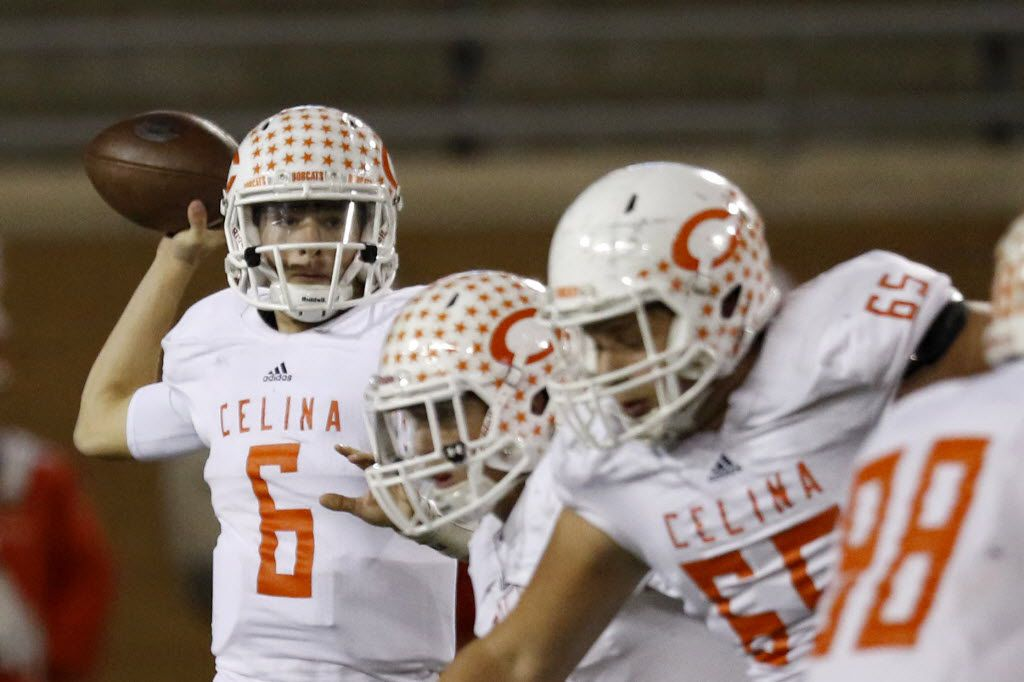 Celina's Conner Pingleton prepares to throw the ball in the 2nd quarter as Celina faces Krum in the Class 4A, Division II, Regional finals on Friday, Dec. 4, 2015 at Apogee Stadium in Denton, TX. Celina beat Krum 42-13. (Rachel Woolf/The Dallas Morning News)