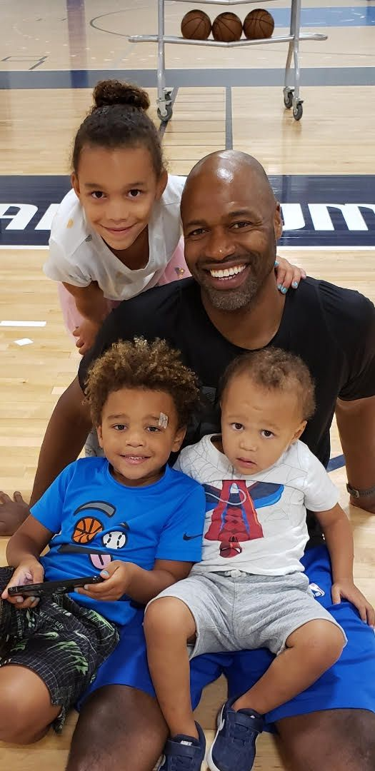 Mavs assistant coach Jamahl Mosley photographed with his children, 6-year-old daughter Jemma, 5-year-old son CJ and 3-year-old son Chance.