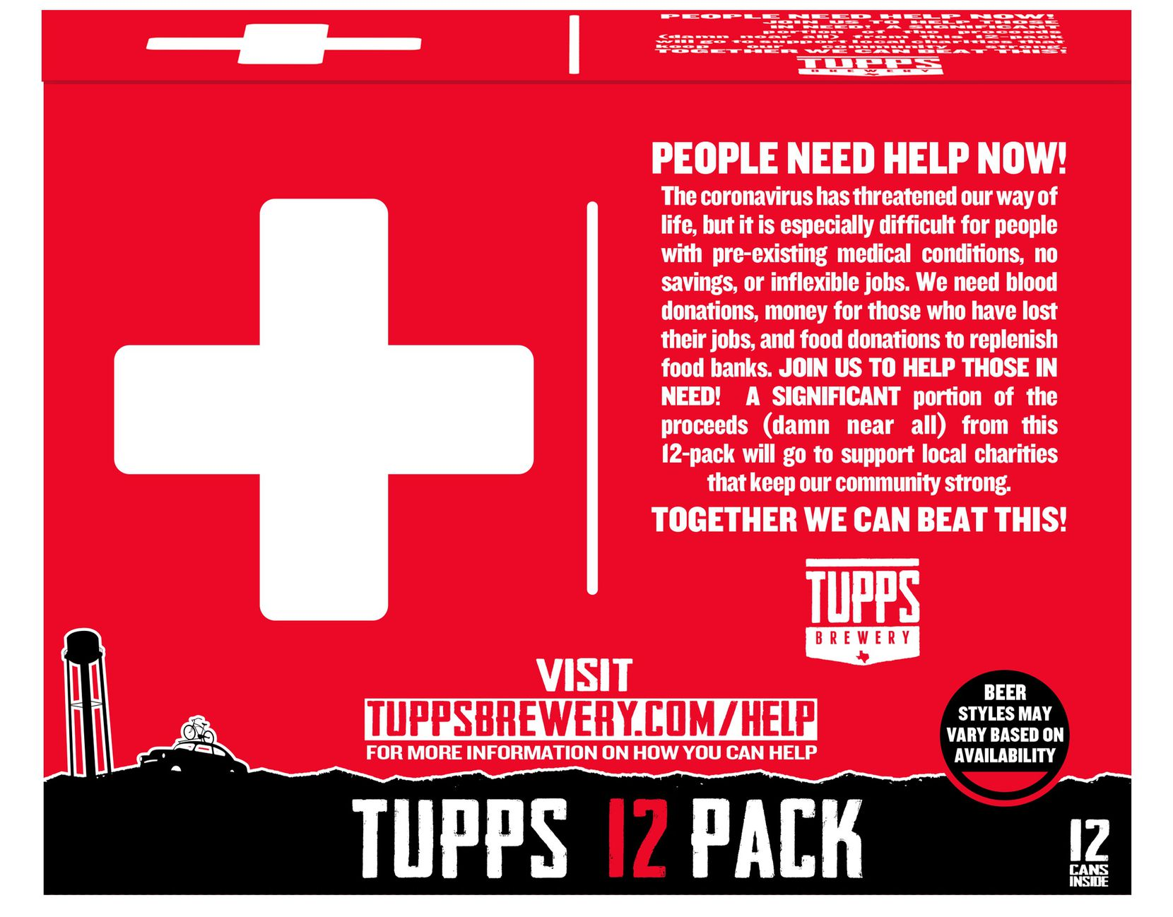 The back side of a mock-up of a 12-can variety pack from TUPPS Brewery. The McKinney beer-maker is planning to roll out the package for retail purchase and donate portions to charities helping those affected by the coronavirus pandemic.