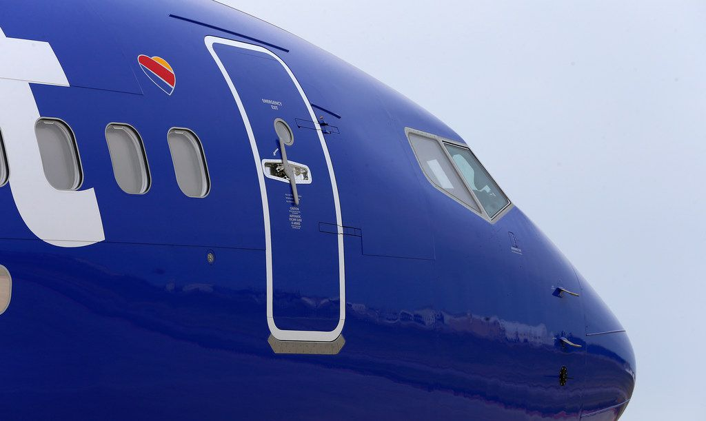 The front door of Southwest Airlines' new plane, the 737 Max, at headquarters in Dallas, Tuesday, Sept. 12, 2017. (Jae S. Lee/The Dallas Morning News)