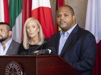 Mayor Eric Johnson speaks at City Hall on Wednesday in Dallas.