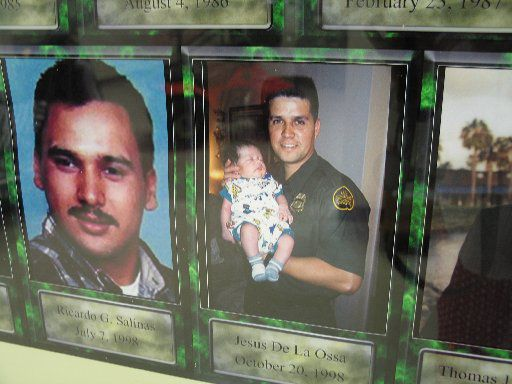 A memorial wall in the U.S. Border Patrol Museum honors agents killed in the line of duty, including Ricardo G. Salinas (left) and Jesus De La Ossa.