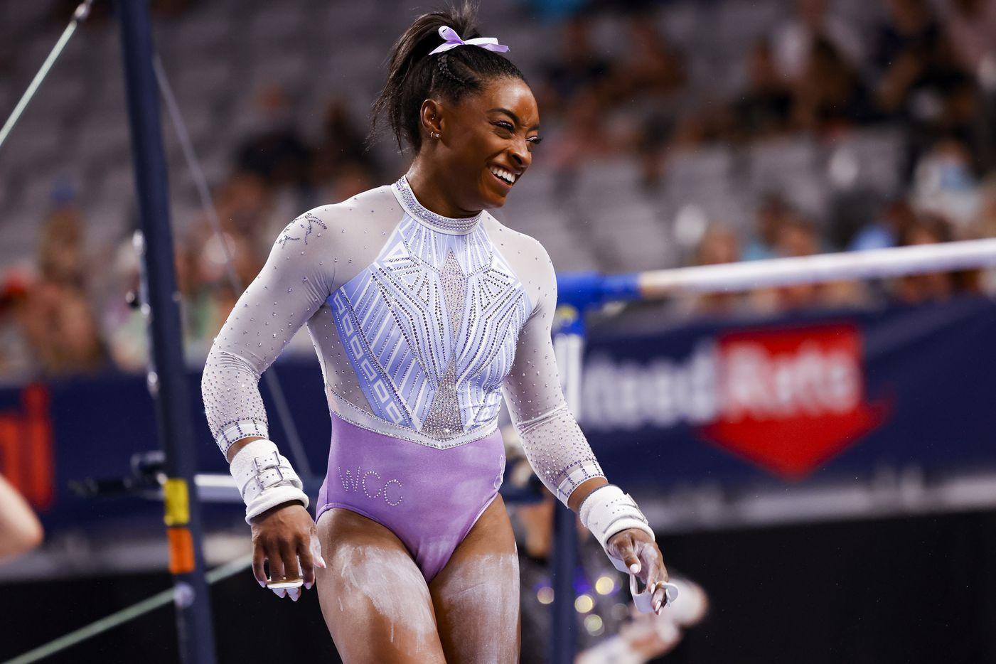 Simone Biles smiles after finishing the uneven bars during day 1 of the senior women's US gymnastics championships on Friday, June 4, 2021, at Dickies Arena in Fort Worth. (Juan Figueroa/The Dallas Morning News)