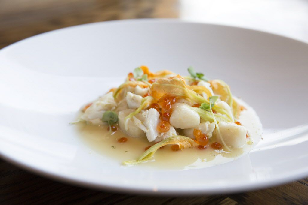 Oak's gnocchi with crab, squash blossom and smoked trout roe