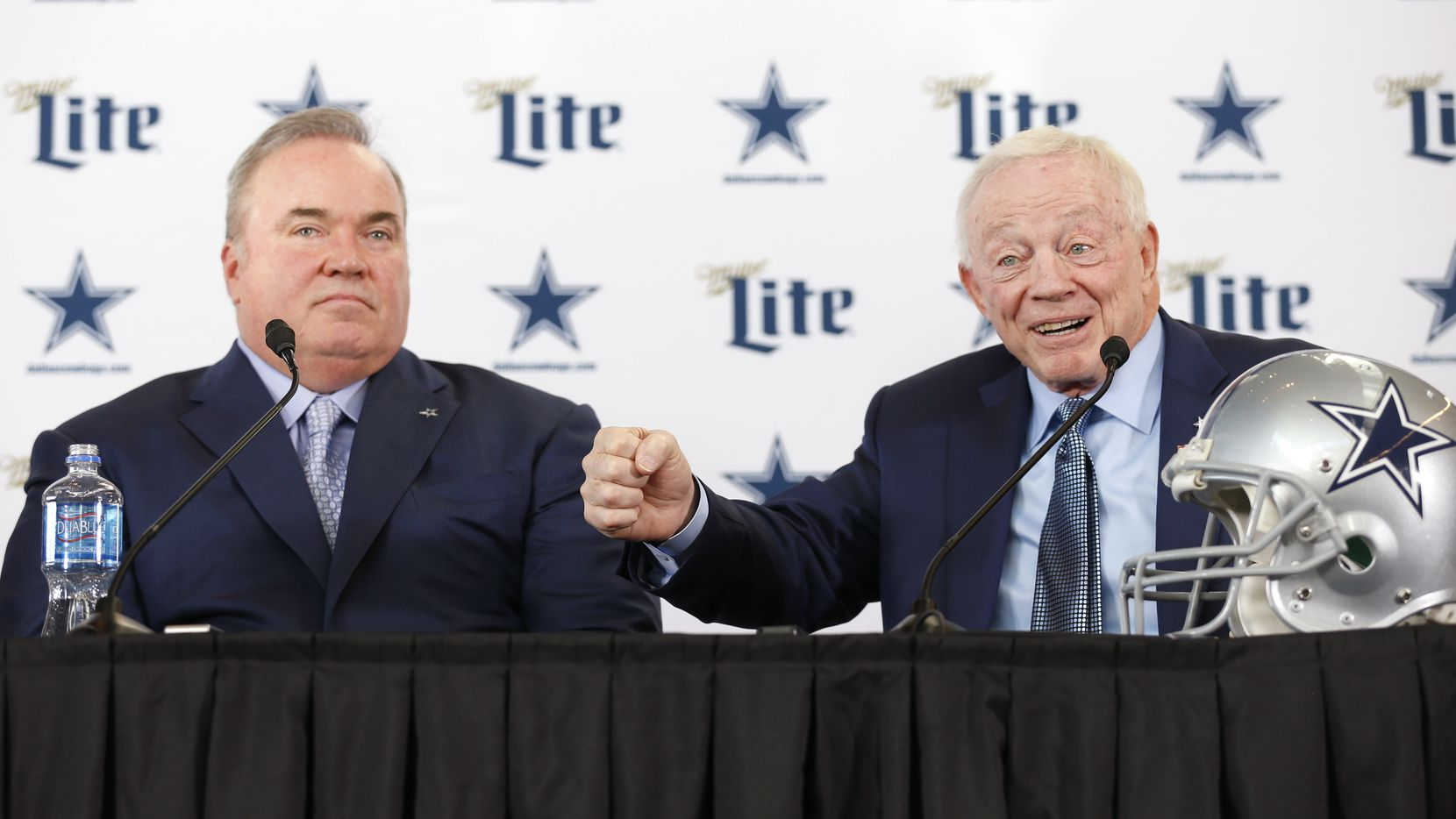 Dallas Cowboys owner and general manager Jerry Jones  tells a story about the interview process as newly hired Dallas Cowboys head coach Mike McCarthy looks on during a press conference in the Ford Center at The Star in Frisco, on Wednesday, January 8, 2020.
