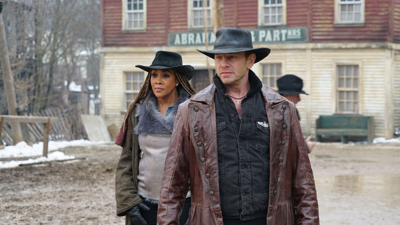 "Vivica A. Fox and Ian Ziering star in ""The Last Sharknado: It's about Time."""