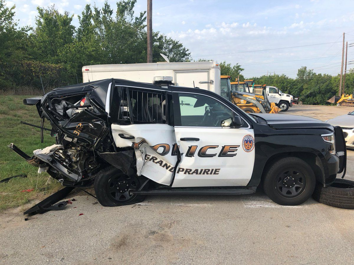 A suspected drunken driver slammed into the rear of a Grand Prairie Police Department squad car on July 22.