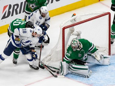 Goaltender Anton Khudobin (35) of the Dallas Stars makes a save against Ondrej Palat (18) of the Tampa Bay Lightning during Game Six of the Stanley Cup Final at Rogers Place in Edmonton, Alberta, Canada on Monday, September 28, 2020.