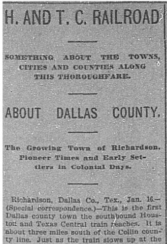Snip of 'H. and T. Railroad' from Jan. 17, 1896.