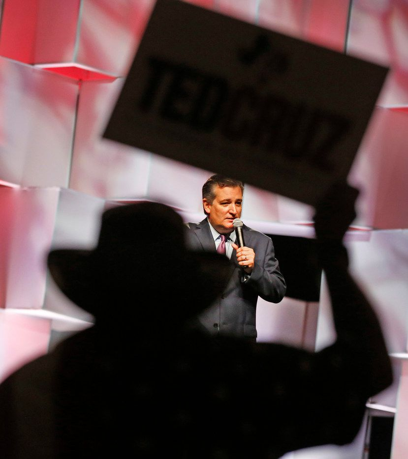 Senator Ted Cruz addresses the crowd while during his time on stage during the 2018 Texas GOP Convention held at the Henry B. Gonzalez Convention Center in San Antonio on June 16, 2018.