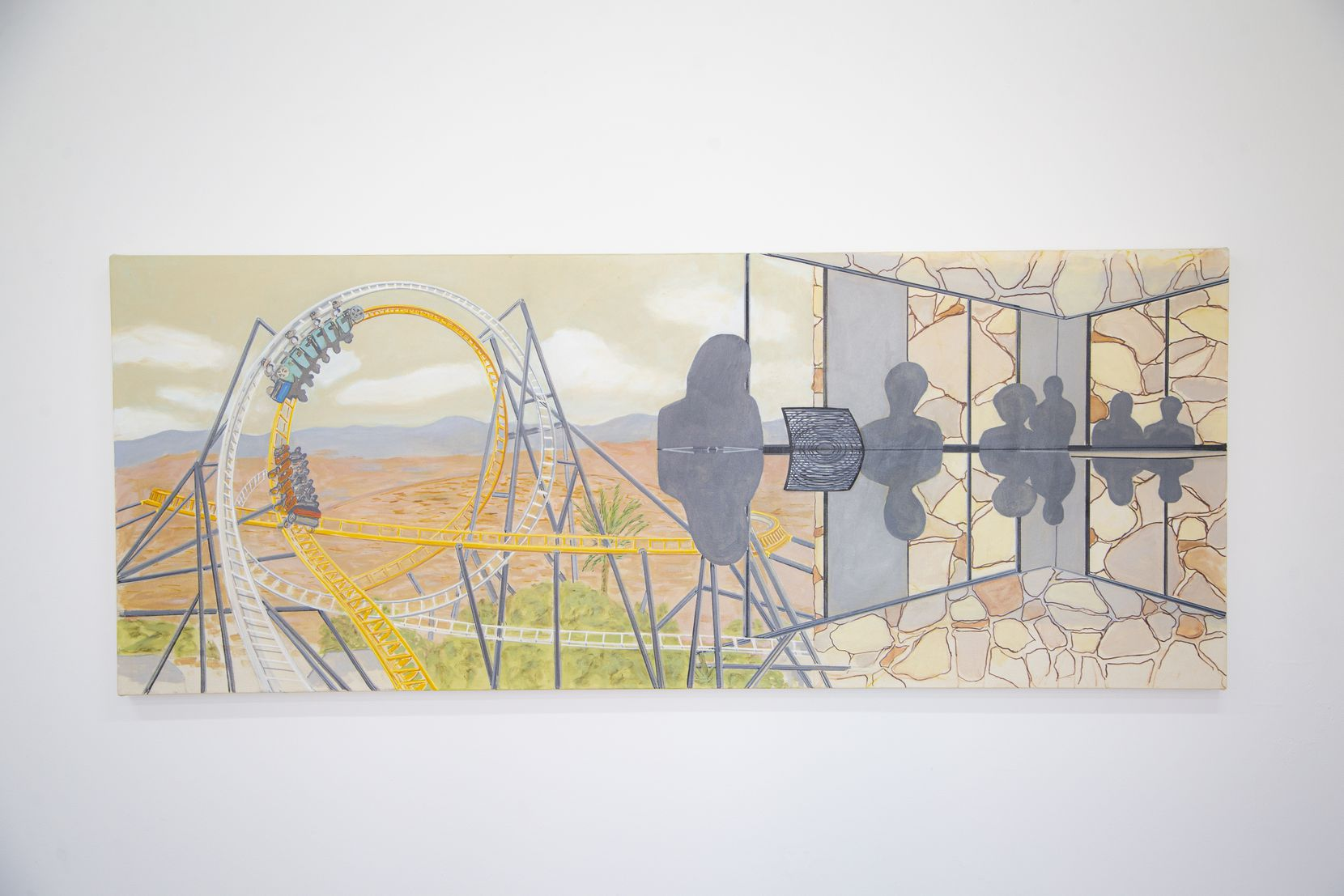 """Los Angeles surrealist William Leavitt's """"Roller, Reflection, Fieldstone, 2020,"""" an acrylic-on-canvas work, is part of the """"Pre Sent Tense"""" exhibition, which runs through Jan. 9"""