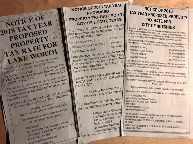 August is the month when Texas newspapers print property tax rate notices from governments. The Watchdog says these notices are needlessly confusing.