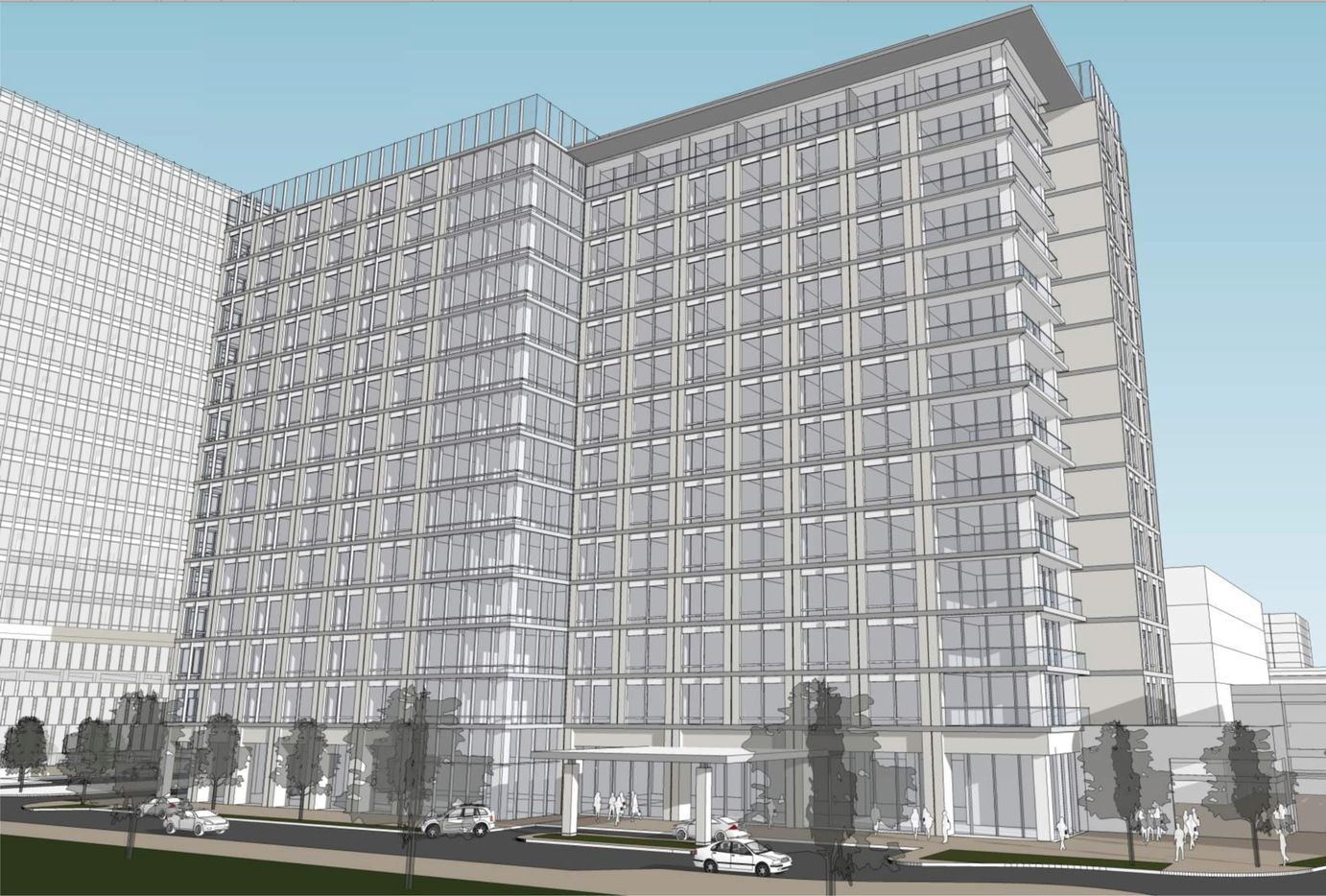 A high-rise hotel is planned as part of the Lesso America project in Frisco.