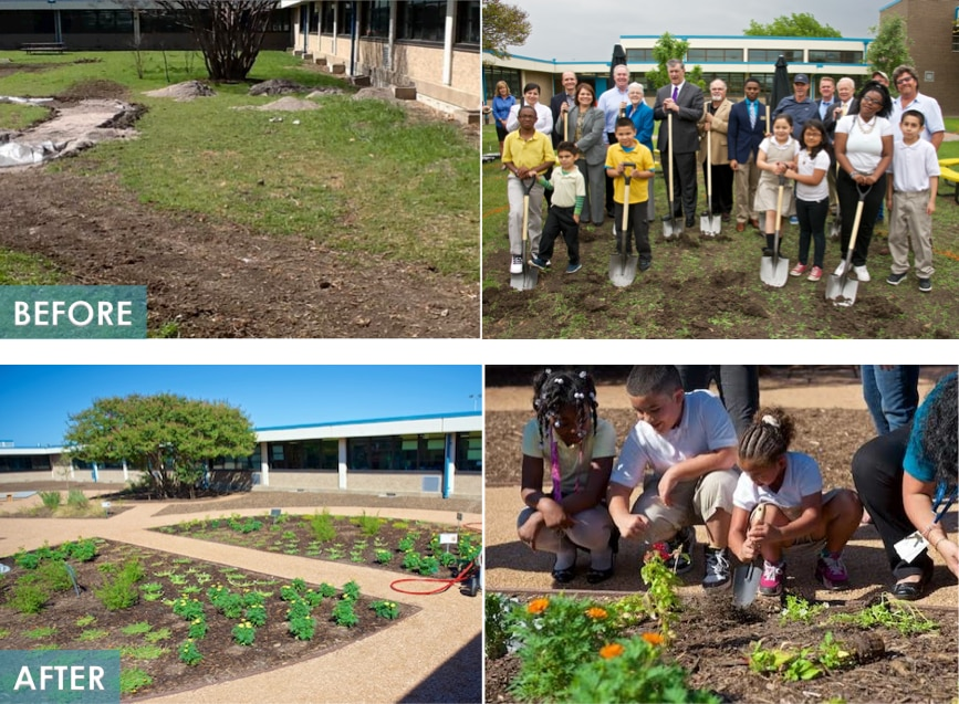 Nancy J. Cochran Elementary received a courtyard makeover and outdoor classroom court yard after Dallas' water conservation contest win in 2014. (Wyland Foundation)