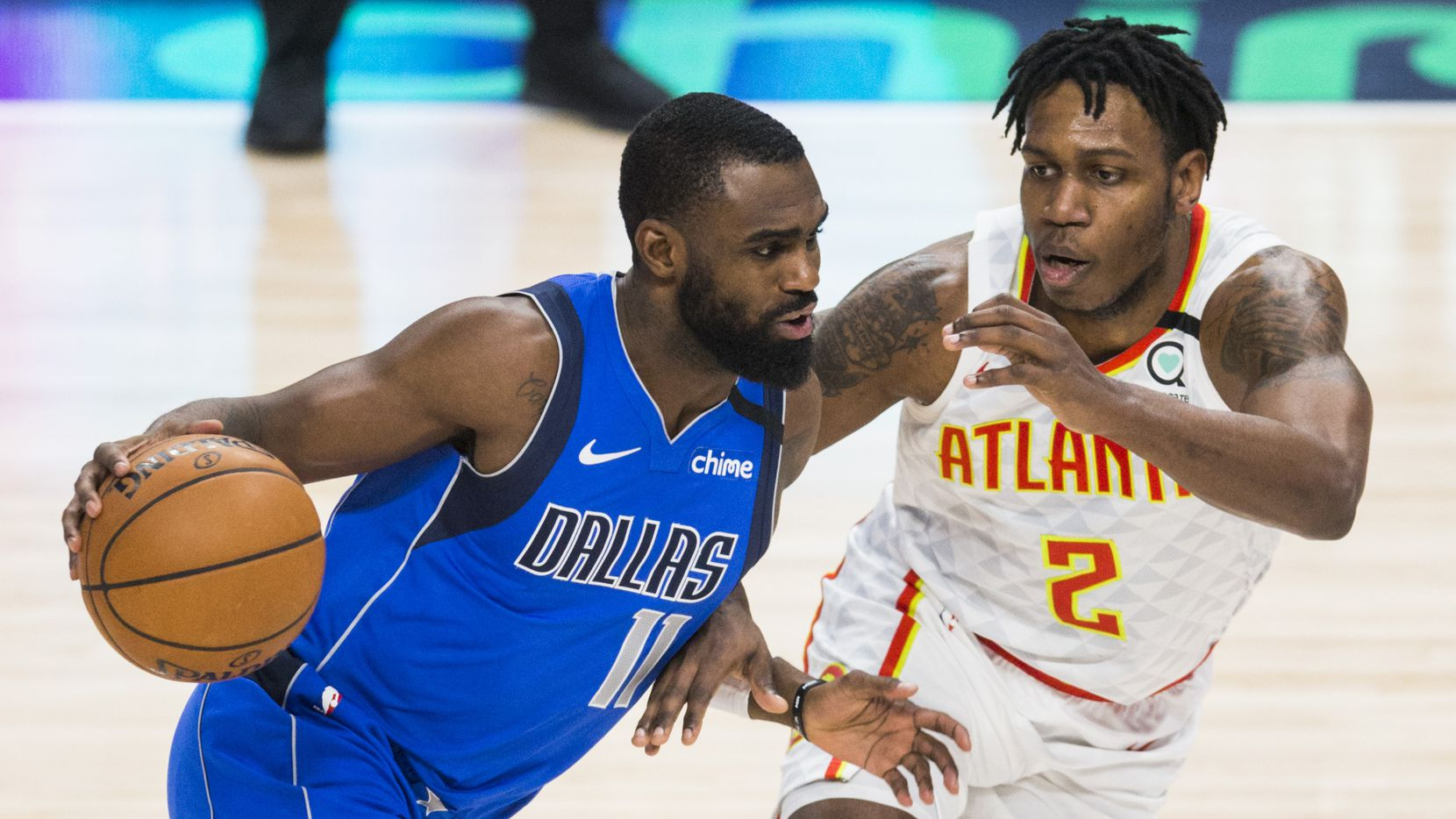 Dallas Mavericks guard Tim Hardaway Jr. (11) drives past /a2/ during the fourth quarter of an NBA game between the Dallas Mavericks and the Atlanta Hawks on Saturday, February 1, 2020 at American Airlines Center in Dallas. (Ashley Landis/The Dallas Morning News)