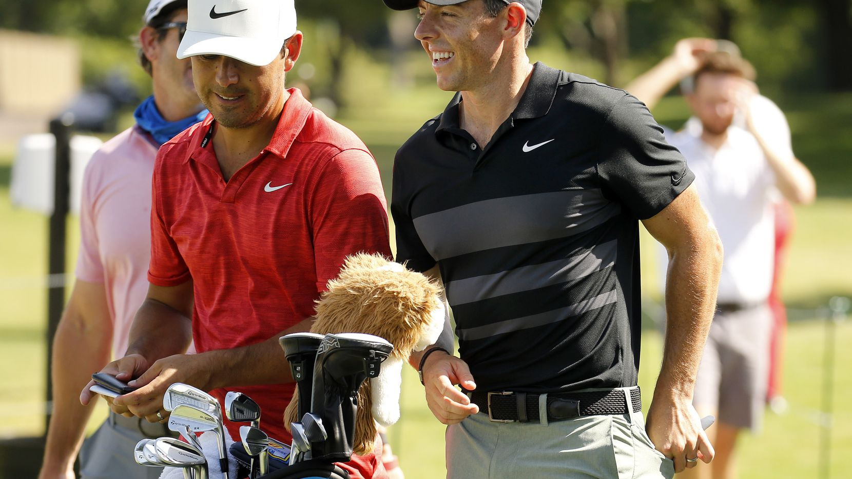 PGA golfer Rory McIlroy (right) at the Charles Schwab Challenge at the Colonial Country Club in Fort Worth on June 9.