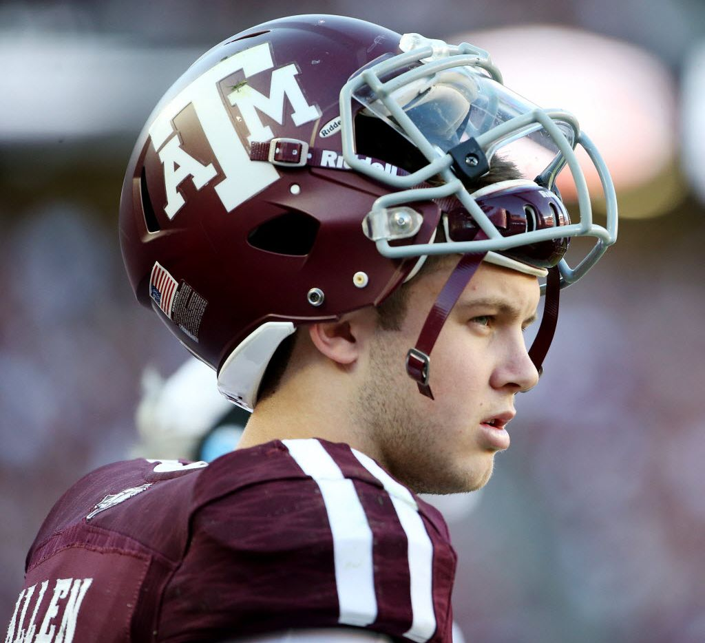 Texas A&M Aggies quarterback Kyle Allen (10) along the sideline in the fourth quarter during an NCAA football game between Alabama and Texas A&M at Kyle Field in College Station, Texas Saturday October 17, 2015. Texas A&M Aggies lost to Alabama Crimson Tide 23-41. (Andy Jacobsohn/The Dallas Morning News)