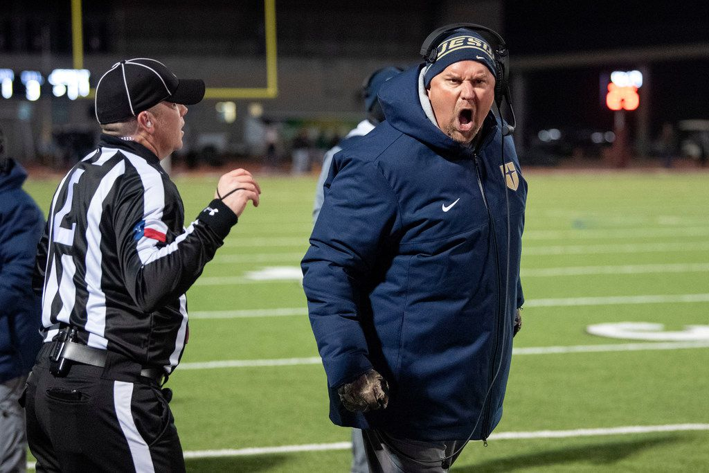 Jesuit head coach Brandon Hickman voices his displeasure after a play that was originally ruled a touchdown reception was overturned and called incomplete in the first half of an area round high school football playoff game against Longview on Friday, November 22, 2019 at John Kincaide Stadium Dallas.