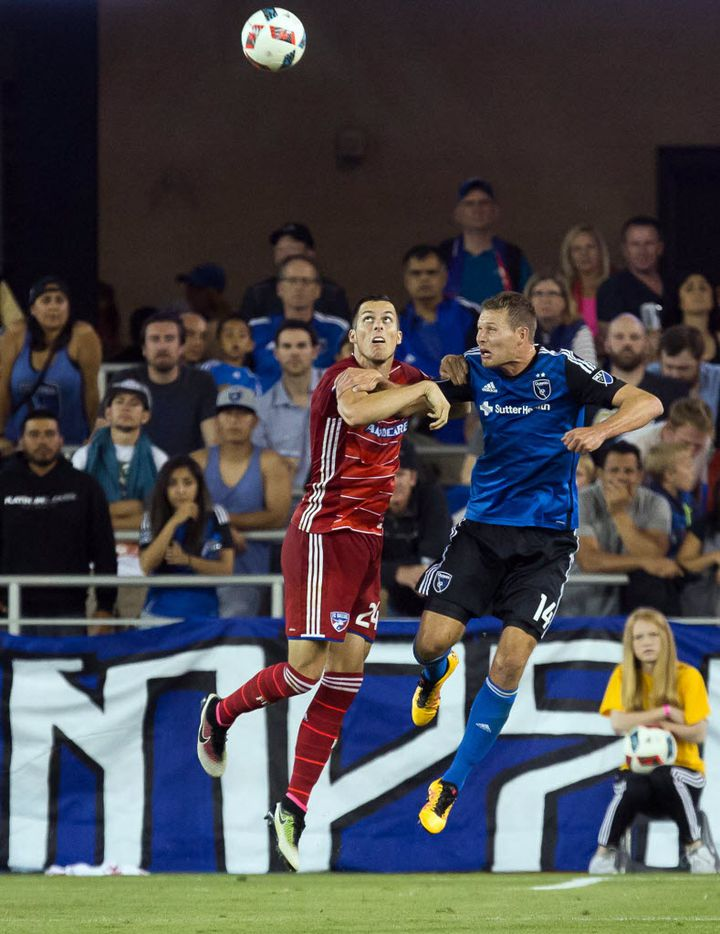 FCD on the road in San Jose, wearing all red despite idea white shorts would be better contrast and its primary kit
